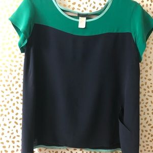 Left of center take two silk color block top sz S
